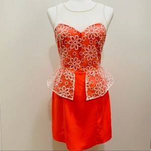SUGARLIPS NEON CORAL AND WHITE FLORAL DRESS
